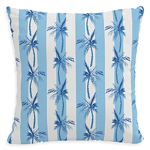 Cloth & Company The Cabana Stripe Palms Outdoor Pillow in Blue, 18 x 18