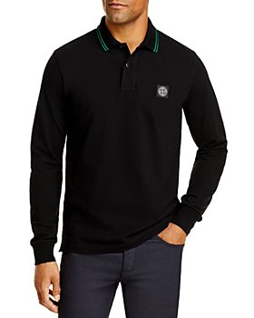 Stone Island - Cotton Blend Tipped Regular Fit Long Sleeve Polo Shirt