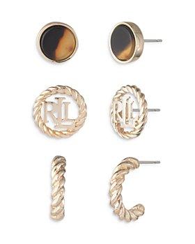 Ralph Lauren - Gold-Tone Stud & Hoop Earrings, Set of 3