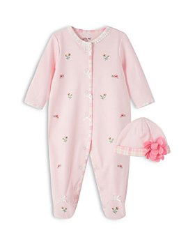 Little Me - Girls' Embroidered Footie & Hat Set - Baby