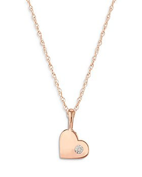 Bloomingdale's - Diamond Heart Pendant Necklace in 14K Gold, 0.03 ct. t.w. - 100% Exclusive