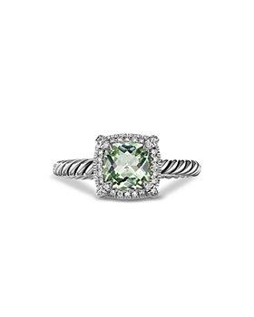 David Yurman - Sterling Silver Petite Chatelaine® Ring with Prasiolite & Diamonds - 100% Exclusive