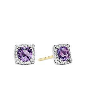 David Yurman - Sterling Silver Chatelaine Amethyst & Diamond Halo Stud Earrings - 100% Exclusive
