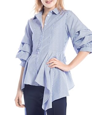 Striped Gathered Sleeve Peplum Shirt (26% off) Comparable value $67.50