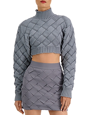 Herve Leger Chunky Weave Crop Sweater