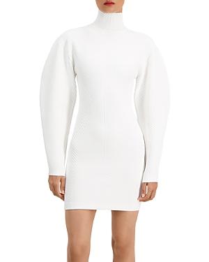 Herve Leger Ribbed Long Sleeve Mini Dress