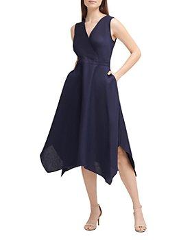 KARL LAGERFELD PARIS - Linen Blend Asymmetrical Midi Dress