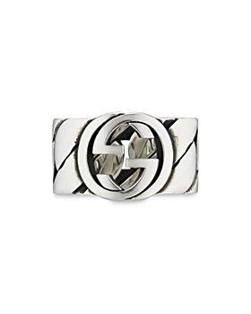 Gucci - Sterling Silver Interlocking G Wide Statement Ring