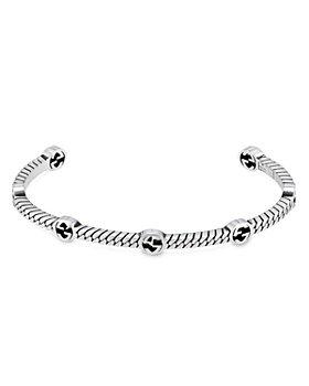 Gucci - Sterling Silver Interlocking G Cuff Bangle Bracelet