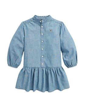 Ralph Lauren - Girls' Chambray Ruffled Shirt Dress - Little Kid, Big Kid