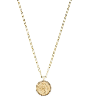 14K Yellow Gold Diamond Coin Charm Necklace