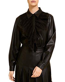 Marina Rinaldi - Bolzano Lace Trimmed Faux Leather Shirt