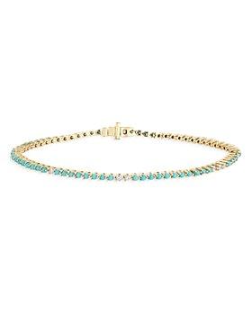 Adina Reyter - 14K Yellow Gold Turquoise & Diamonds Tennis Bracelet