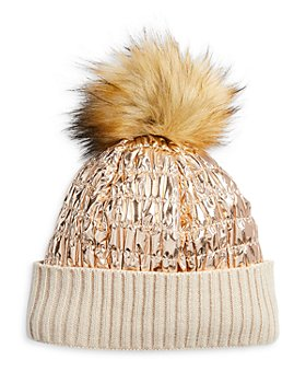 Surell - Girls' Faux Fur Pom Pom Ribbed Hat - Big Kid
