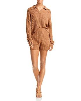 rag & bone - rag & bone Maxine Ribbed Knit Polo Sweater & Maxine Ribbed Shorts