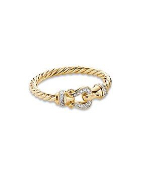 David Yurman - Petite Buckle Ring in 18K Yellow Gold with Diamonds