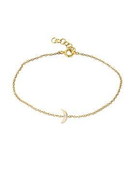Zoe Lev - 14K Yellow Gold Diamond Tiny Moon Chain Link Bracelet