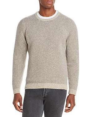 Merino Wool & Cashmere Two Tone Crewneck Sweater