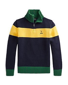 Ralph Lauren - Boys' Cotton Color Blocked Quarter Zip Sweater - Little Kid, Big Kid