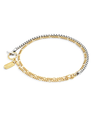 Dual Chain Bracelet in Rhodium & 14K Gold Plated Sterling Silver