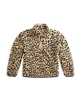 Ralph Lauren - Girls' Leopard Print Faux Sherpa Pullover - Little Kid, Big Kid