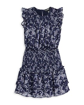 AQUA - Girls' Metallic Print Paisley Flutter Sleeve Ruffled Dress