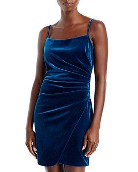 AQUA - Ruched Velvet Mini Dress - 100% Exclusive