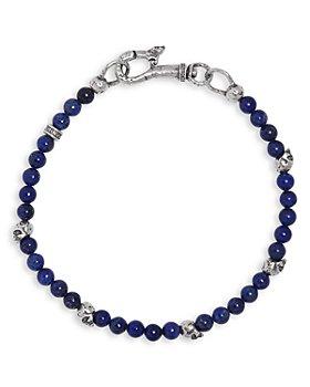 John Varvatos Collection - Men's Sterling Silver Skull & Lapis Beaded Bracelet