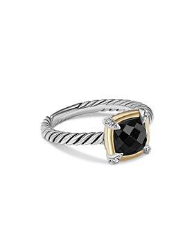 David Yurman - 18K Yellow Gold & Sterling Silver Petite Chatelaine® Onyx & Diamond Bezel Ring