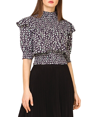 Smocked Short Sleeve Top with Abstract Dot Print (42% off)