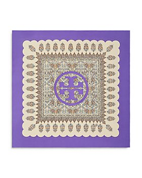 Tory Burch - Indienne Scalloped Canvas Silk Square Scarf