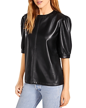 Faux Leather Pleated Sleeve Top