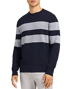 Theory - Arnauld Striped Crewneck Merino Sweater