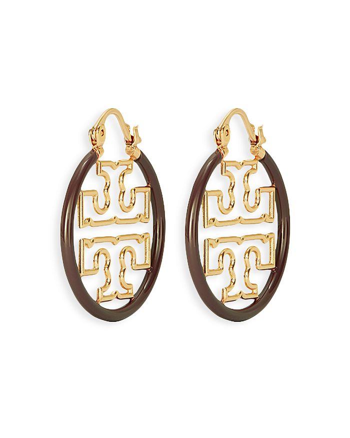 Tory Burch - Miller Logo Small Enamel Hoop Earrings