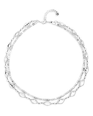 Uno de 50 White Magic Crystal & Bead Double Row Choker Necklace, 14-15