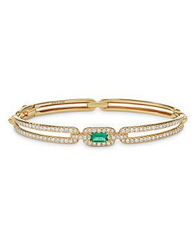 David Yurman - Stax Single Link Bracelet in 18K Yellow Gold with Emerald and Pavé Diamonds