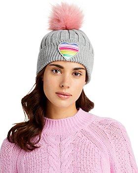 AQUA - Patch & Pom-Pom Knit Hat - 100% Exclusive
