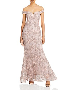 AQUA - Off The Shoulder Floral Soutache Lace Dress