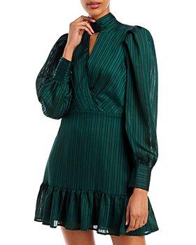 AQUA - Tonal Stripe Keyhole Ruffle Hem Dress - 100% Exclusive