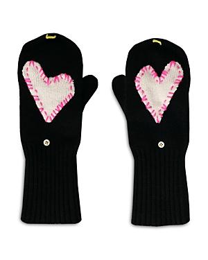 Heart Patch Cashmere Pop Top Mittens