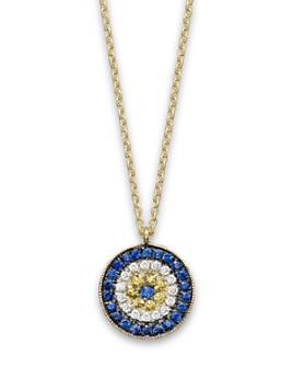 "Meira T - 14K Yellow Gold/Diamond ""Evil Eye"" Necklace, 16"""