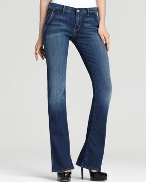 7 For All Mankind Petite Five-Pocket Flare Jeans in Lady Jeanette Wash 556881
