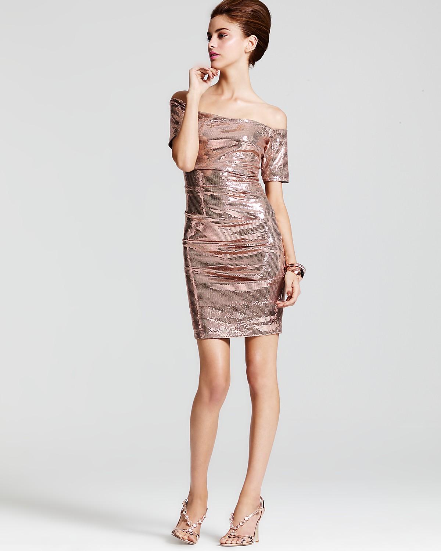 Nicole Miller Off-Shoulder Stretch Sequin Dress & more | Bloomingdale\'s