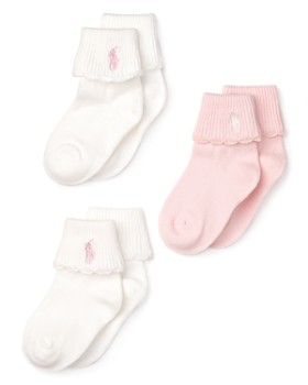 Ralph Lauren - Girls' Scallop Trim Socks, 3 Pack - Baby