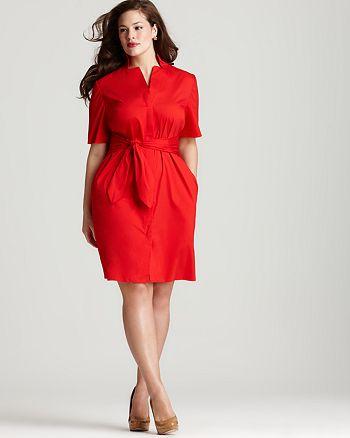 Lafayette 148 New York Plus - Inga Tie Front Dress