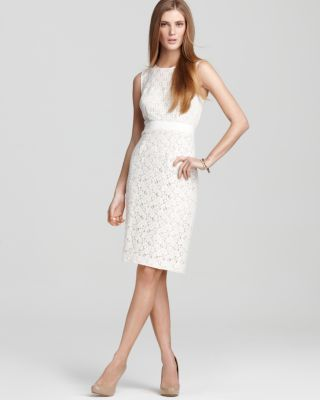 BCBGMAXAZRIA Womens Alice Mixed Lace Sheath Dress