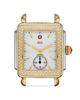 MICHELE - Deco Mid 16 Diamond Two Tone Watch Head, 29 x 31mm