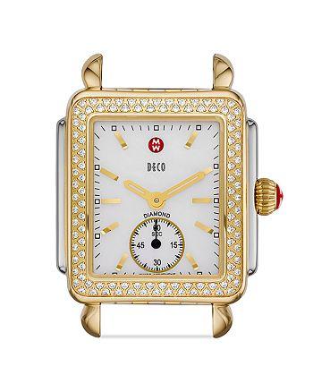 MICHELE - Deco 16 Diamond Two Tone Watch Head, 29 x 31mm