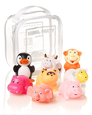 Elegant Baby Animal Party Squirties Bath Toys - Ages 6 Months+