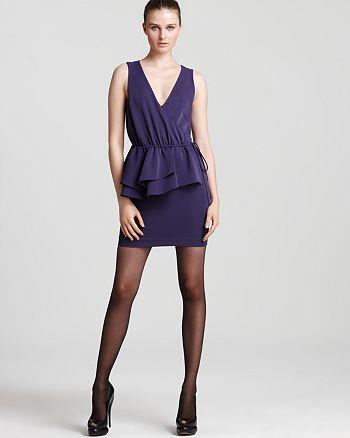 Vera Wang - V Neck Half Peplum Dress